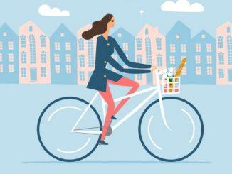Dessin femme sur un vélo
