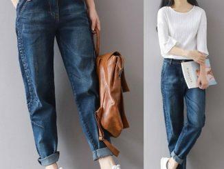 Femme qui porte un jean boyfriend